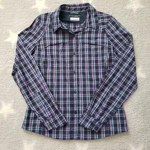 Columbia Omni Shade Plaid Button Down Shirt Medium